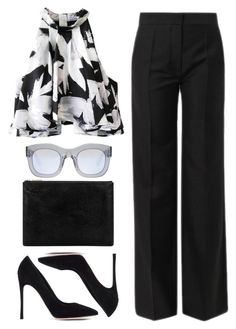 """""""127. Boss Lady"""" by mshalloweenhead ❤ liked on Polyvore featuring Balenciaga, Illesteva, C/MEO COLLECTIVE, Whistles, Gianvito Rossi, Pumps, office and blackandwhite"""