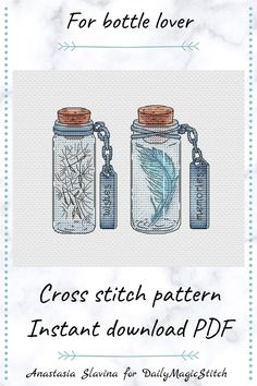 The embroidered cross stitch pattern bottles with memories and wishes will decorate your home and will remind you of summer. There are bottles with dandelion and feather. summer cross stitch, embroidery pattern, modern cross stitch, beginner embroidery, dandelion wine, jar cross stitch, cross stitch charts, pdf pattern, gift summer lover, punto crore, small cross stitch Small Cross Stitch, Modern Cross Stitch, Cross Stitch Charts, Cross Stitch Designs, Cross Stitch Embroidery, Embroidery Patterns, Cross Stitch Patterns, Dandelion Wine, Spring Design