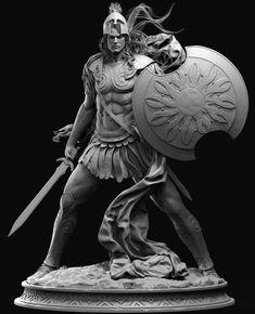ArtStation - A recent personal job, cheng xing Character Inspiration, Character Art, Roman Warriors, Modelos 3d, Fantasy Miniatures, Cg Art, Comic Artist, Dark Art, Sculpture Art