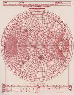 Smith chart, invented by Phillip H. Smith, is a graphical aid or nomogram designed for electrical and electronics engineers specializing in radio frequency (RF) engineering to assist in solving problems with transmission lines and matching circuits. Geometry Art, Sacred Geometry, Smith Chart, Math Art, Information Design, Grafik Design, Data Visualization, Op Art, Geometric Shapes