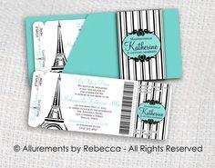 Paris Boarding Pass Invitations Tiffany by AllurementsByRebecca, $50.00 would prefer pink & black instead of Tiffany blue