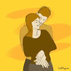 """The Protector is a hug that is all about a sense of security. The person behind wraps their arms around the waist of the person in front, providing stability and taking on a protective role.  This position shows a large amount of trust in the relationship and shows that taking care of one another is very important. """"By covering your back, he's conveying that he wants to shelter you,"""" writes Patti Wood, a body language expert and author of Success Signals, A Guide to Reading Body Language."""