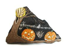 Haunted Graveyard Rock hand painted Halloween by RocksOK on Etsy, $9.00