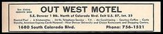 Out West Motel Ad Denver Colorado AC Heated Pool TV 1964 Roadside Ad Travel