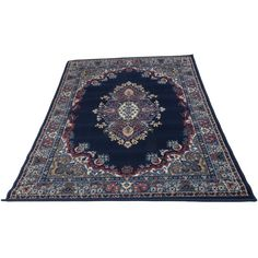 Kerman Persian style rug navy blue (€19) ❤ liked on Polyvore featuring home, rugs, interior, fillers, furniture, navy blue area rug, persian runner, navy blue rug, dark blue area rug and persian style rugs