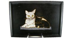 Vintage Black and White Cat Tray Couroc of Monterey
