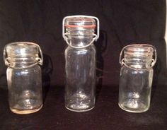 Three Vintage Wheaton Glass Storage Jar Wire Lock Glass Lid U0026 2 With Rubber  Seal