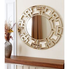 216 Abbyson Living Pierre Gold Round Wall Mirror