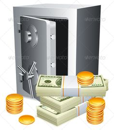 Safe and Money  #GraphicRiver         Opened safe, packs of money and golden coins. This file is fully editable EPS8 vector illustration. It can be scaled to any size. All its parts are grouped for easy customization.     Created: 7September13 GraphicsFilesIncluded: VectorEPS Layered: No MinimumAdobeCSVersion: CS Tags: bank #banknote #business #cash #coin #deposit #dollar #finance #gold #illustration #money #note #opened #safe #safety #savings #secure #security #steel #storage #vault #vector