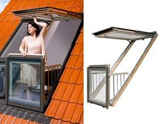 Roof Window Design Idea from Fakro Reinvents Skylights Creating Small Roof Balcony Roof Balcony, Balcony Window, Roof Window, Skylight Window, Attic Doors, Attic Window, Attic Renovation, Attic Remodel, Balcony Design