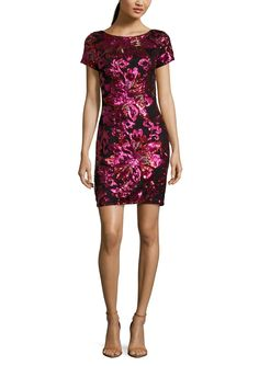 SABLE + ZOE Short Sleeve Sequin Cocktail Dress in Fuchsia Floral