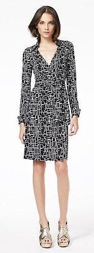 DVF wrap dress in black and white.