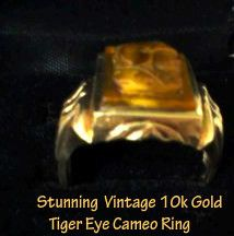 """LEMP EST. (EDWIN) STUNNING VINTAGE ART DECO 10K GOLD TIGER'S EYE CAMEO OF ROMAN SOLDIER RING. The quality, detail, and workmanship of the Roman warrior Tiger's Eye cameo is incredible and the Art Deco design on the band of gold is outstanding. This Roman beauty has been resized to an approx. size 11-11.5, but can be resized again to fit your needs. The beautifully carved cameo measures approximately 3/4"""" H x 1/2"""" W & is in very good vintage condition. $299.99 OBO We Accept """"Bill Me Later""""…"""