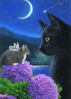 Black Cat Fairy Kitten Moon Mums Night Garden Original ACEO Painting Art | eBay - $163.50 - star-filled-sky