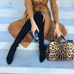 "Sasha Simon • lolariostyle on Instagram: ""Wearing all my fall favorites, Camel coats, over the knee boots, and leopard ✨ @liketoknow.it www.liketk.it/1NUl8 #liketkit @stuartweitzman"""