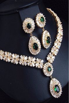 Emeralds and Diamonds Demi-Parure via LadyLuxuryDesigns.