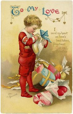 "Vintage or antique Ellen Clapsaddle ""To My Love"" Valentine. From The Graphics Fairy. My Sweet Valentine, Valentine Images, My Funny Valentine, Vintage Valentine Cards, Valentines For Boys, Vintage Greeting Cards, Vintage Postcards, Vintage Images, Valentines Day Greetings"