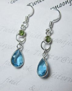5 Ct London Blue Topaz & Peridot Dangle Earrings. Starting at $1 on Tophatter.com!