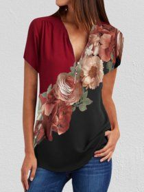 V Neck Floral Print Short Sleeve Blouse - holapick.com Women Sleeve, Blouse Online, Short Sleeve Blouse, Sleeve Styles, Casual Shirts, Fall Outfits, Floral Prints, V Neck, Woman Shirt