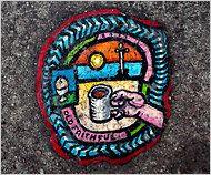 Gemälde auf einem Kaugummi. Von Ben Wilson (Großbritannien).    street art 000