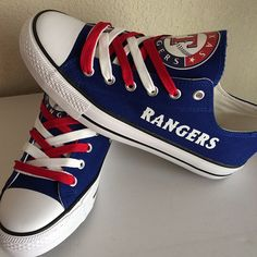 Stand out from the crowd with Texas Rangers team spirit in these adorable Converse style sneakers that have handmade Texas Rangers designs. Texas Rangers Shirts, Tx Rangers, Rangers Baseball, Texas Rangers Outfit, Rangers Game, Converse Style, Outfits With Converse, Converse Sneakers, Only Fashion