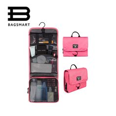 Only $9.28 , BAGSMART Trave Make up Bag Hanging Toiletry Bag Cosmetic Carry On Case Folding Makeup Organizer with Breathable Mesh Pockets