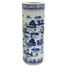 "Fine Chinese porcelain umbrella stand with a blue Chinoiserie motif. 23"" x 8"""