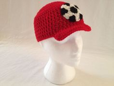Crochet Brim Cap With Soccer Ball Applique (Made to Order). $24.00, via Etsy.