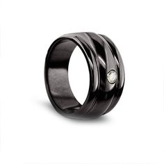 This Black Titanium Triple Dome Mens Wedding ring is stunning looking!