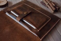 Hand stitched Macbook Case Bag Leather Laptop by CPScraftStudio