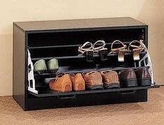 Cappuccino Wood Shoe Rack Closet Storage Organizer- something like this would be nice.