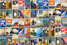 Vintage travel poster wallpaper mural that brings together some of the finest retro tourism posters and turns them into a striking wallpaper mural.
