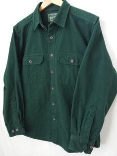 Woolrich Shirt Medium M Dark Forest Green Heavy 100% Cotton Woolen Mills #Woolrich #ButtonFront #$16.99