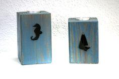 blau Teelichthalter  Kerzenständer eldes Holz  von SchlueterKunstundDesign - Wohnzubehör, Unikate, Treibholzobjekte, Modeschmuck aus Treibholz auf DaWanda.com