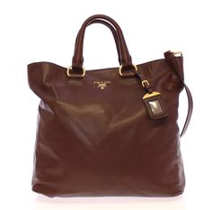 NWT PRADA Brown Leather Handbag Bag Purse Shoulder Satchel Borse Shopping Tote #PRADA #TotesShoppers