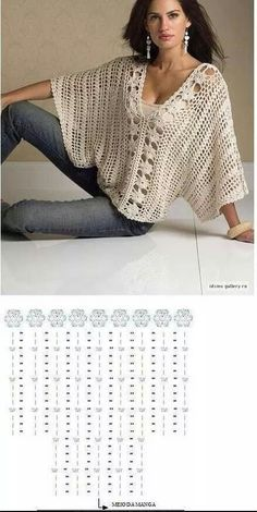 Crochet patterns free cardigan tunics charts ideas for 2019 Crochet Tunic Pattern, Gilet Crochet, Crochet Quilt, Crochet Chart, Cotton Crochet, Crochet Cardigan, Crochet Lace, Crochet Stitches, Crochet Patterns