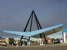 V Wing Mid Century Modern Gas Station #googie