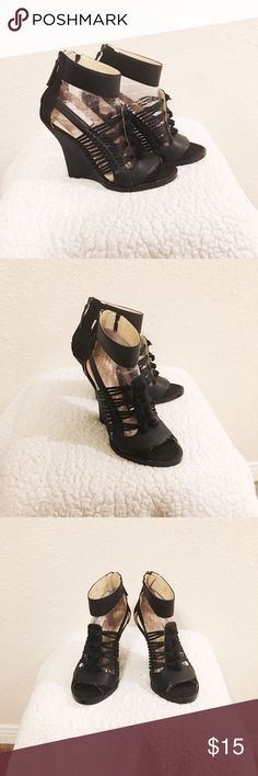 Black Wedge Sandals Beautiful black wedge sandals. Perfect for any occasion and are in great condition. Brand is GX by Gwen Stefany. #heels  #pumps #highheels #trendy #fall #summer #spring GX by Gwen Stefani Shoes Sandals