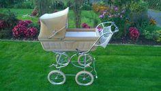 Original 70er Jahre Vintage Kinderwagen mit beigem Stoffbezug innen weiß Babyschale abnehmbar und...,Vintage Kinderwagen mit beigem Stoffbezug in Baden-Württemberg - Neckargemünd