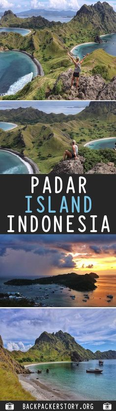 Padar Island is a small Indonesian island between the islands Rinca and Komodo, and is a part of the Komodo National Park. Honeymoon Vacations, Vacation Destinations, Komodo National Park, National Parks, Travel Abroad, Asia Travel, Beautiful Places To Travel, Lombok, Adventure Travel