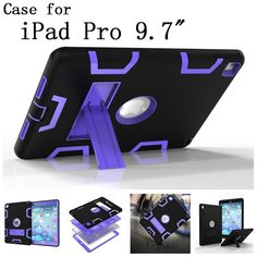 Original quality Hard Silicone Rubber with stand Case Cover For Apple iPad Pro 9.7 inch display for Apple iPad logo,SKU 0114BLE