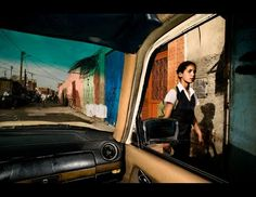 "Travel Finalist: Daniel Duart, Spain. A little girls walks home after school in Morocco. Seen from the inside of a taxi for the reportage ""Cities from a Taxi, Tourism 3.0"". (© Daniel Duart, Spain, 2013 Sony World Photography Awards)"