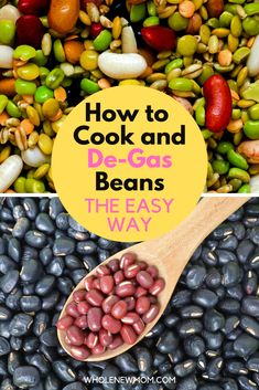 Easy ways to cook and Degas beans! It's so easy and so much cheaper to cook beans from dry, but you need to know how to Degas them. Learn here how easy it is! Healthy Pizza, Healthy Meal Prep, Healthy Dinner Recipes, Whole Food Recipes, Bean Recipes, Chili Recipes, Beans For Babies, Diy Food, Food Ideas
