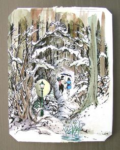 Shadowbox diorama, Narnia picture. With how-to at the bottom.