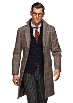 Brown Coat at Suit Supply...great pattern combination