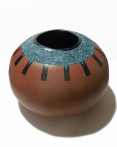 Painted Gourd Art Bowl with Turquoise Textured by JeanneFryArt