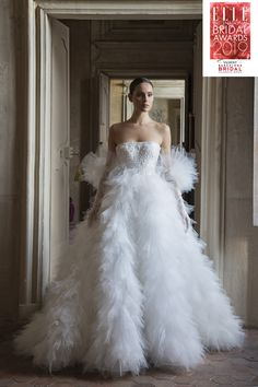 Peter Langner wins the Best Bridal Gown Awards at the Elle International Bridal Awards 2019 with the Janet dress Italian Wedding Dresses, Bridal Wedding Dresses, Designer Wedding Dresses, Bridal Style, Bridal Gown, Bridal Shoot, Wedding Bells, Wedding Gown Ballgown, Bridal Fashion Week