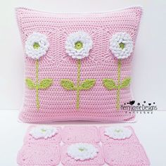 MAKE YOUR OWN PILLOW! - (Pattern only) The 'DELIGHTFUL DAHLIAS' Cushion pattern - A unique crochet pattern by Kerry Jayne Designs. This pillow would make a love