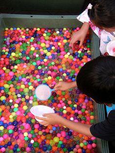 Japanese festival game for children (Goldfish or Bouncy Ball Scooping)