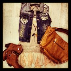 Country chic ~ lace dress, rhinestone denim vest, mini cowgirl boots, and light brown leather bag. Adorable. The boots and the bag would have an added bonus of cuteness to this outfit if they were fringe(: love this!